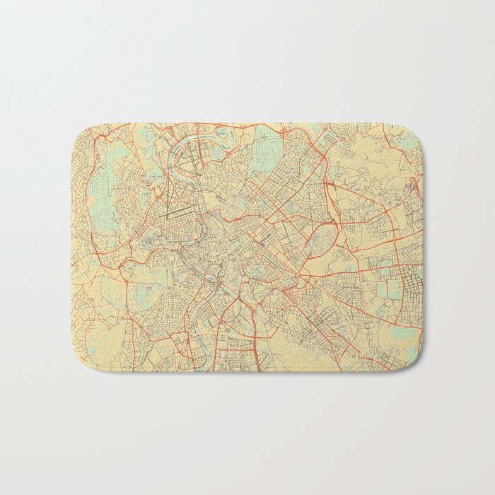 Rome Map Retro Bath Mat