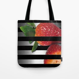 Black & Silver Overlapping Stripes & Strawberries Tote Bag