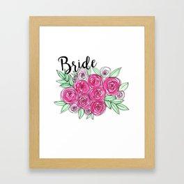 Bride Wedding Pink Roses Watercolor Framed Art Print