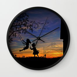 Cute Kids Playing In Swing In Garden House Silhouette Romantic Sunset Ultra HD Wall Clock