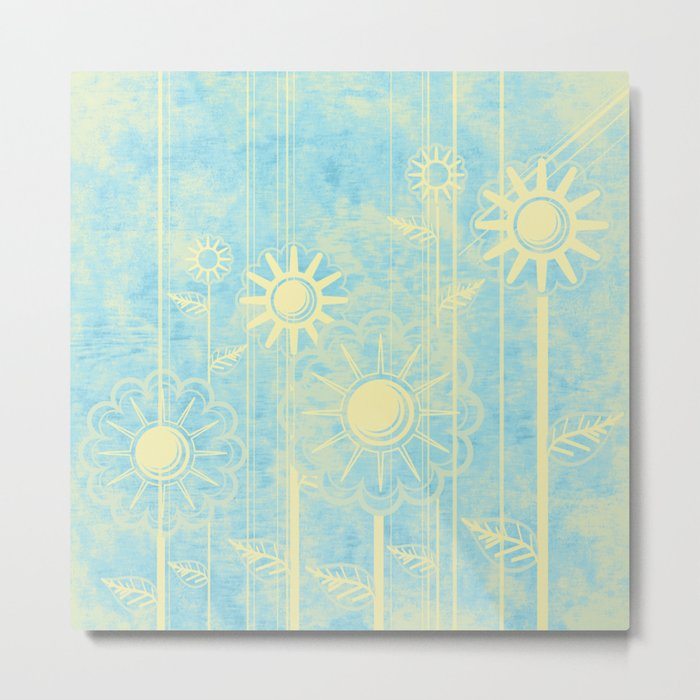 retro flowers in blue and yellow Metal Print