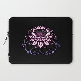 Lotus flower with leaves. Pink Yoga. Laptop Sleeve