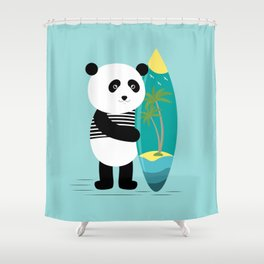 Surf Along With The Panda. Shower Curtain