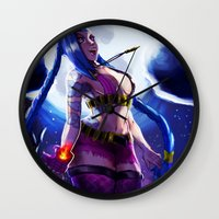 league of legends Wall Clocks featuring Jinx - League Of Legends by jimmy