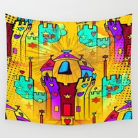 popart Wall Tapestries featuring Castle Popart by Nico Bielow by nicobielow