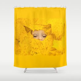 Moody, sleeping doll in vibrant yellow maple leaves Shower Curtain