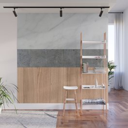 Carrara Marble, Concrete, and Teak Wood Abstract Wall Mural