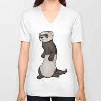 ferret V-neck T-shirts featuring Wild Ferret by Szilárd A Legjobb