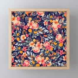 Navy Floral Framed Mini Art Print