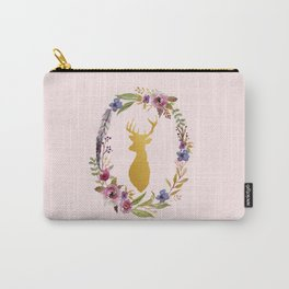 Golden Deer And Floral Wreath Carry-All Pouch