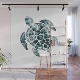 Sea Turtle - Turquoise Ocean Waves Wall Mural