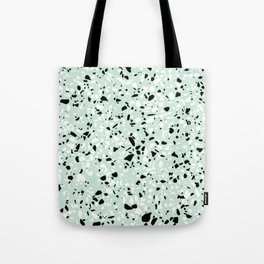 'Speckle Party' Mint Green Black White Dots Speckle Trendy Sporty Pattern Tote Bag