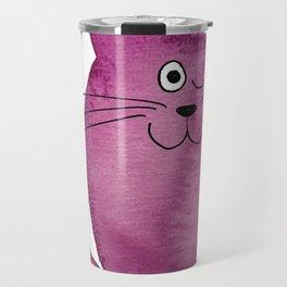 watercolor winking violet cat Travel Mug