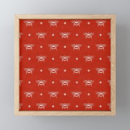 Bee Stamped Motif on Red Framed Mini Art Print