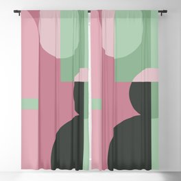 Art Deco Composition Pink and Green #6 Blackout Curtain