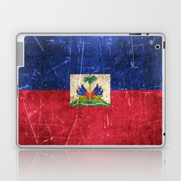 Vintage Aged and Scratched Haitian Flag Laptop & iPad Skin