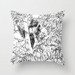 Sasquatch picking apples Throw Pillow