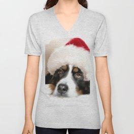 Santa Dog Unisex V-Neck