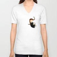 libra V-neck T-shirts featuring Libra by Kristina Sabaite