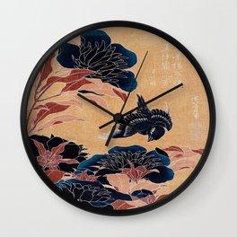 japanese flowers Wall Clock