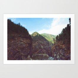 Suspension bridges, Nepal Art Print