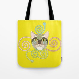 Yellow Spiral Cat Tote Bag