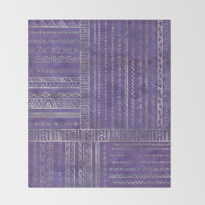 Tribal Ethnic pattern silver on  purple Throw Blanket