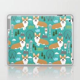 Corgi seattle washington welsh corgi pattern print dog lover gifts space needle ferris wheel coffee Laptop & iPad Skin