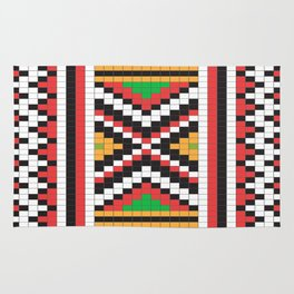 Slavic cross stitch pattern with red green orange black white Rug