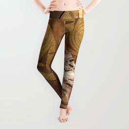 Woman with Golden Hair,mixed media. Leggings