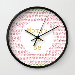 Mommy to be - watercolour pattern Wall Clock
