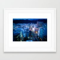 kobe Framed Art Prints featuring City Lights in Kobe pt1 by Tomoyuki Murakami