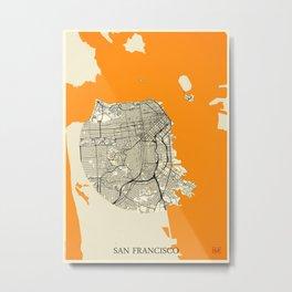 San Francisco Map Moon Metal Print