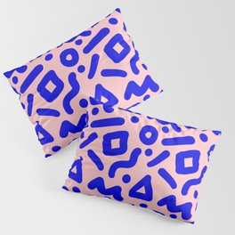 Doodle Pattern - Pink and Electric Blue Pillow Sham