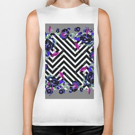 Geometric  black-White Morning Glories Grey Pattern Garden  Art Biker Tank