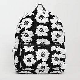 Linocut botanical nature floral flower art nursery black and white decor newborn Backpack
