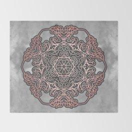 Rose Gold & Grey Mandala Throw Blanket