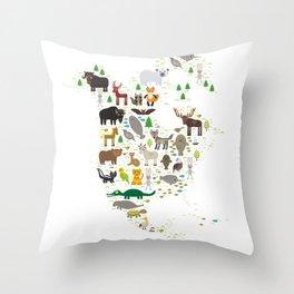 Map of North America with Animals bison bat manatee fox elk horse wolf partridge seal Polar bear Throw Pillow