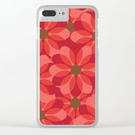 Vintage 1970's Pink Spring Flowers Pattern Clear iPhone Case