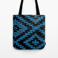 kilim Tote Bags featuring Blue Black Kilim Rug by suzyoconnor