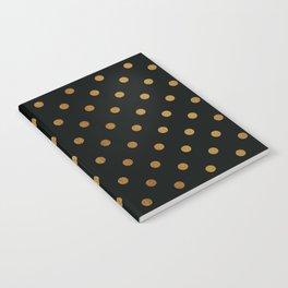 Gold polka dots on black pattern Notebook