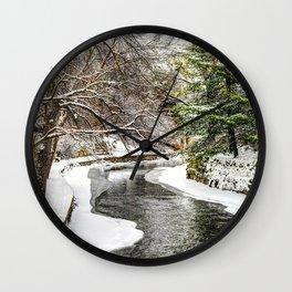 The Riverwalk in Winter Wall Clock