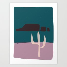 canyons and cactus night Art Print