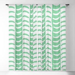 Wavy Stripes Green Sheer Curtain
