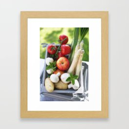 Wooden box with fresh fruit and vegetables Framed Art Print