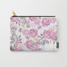 Elegant pink gray watercolor botanical roses flowers Carry-All Pouch