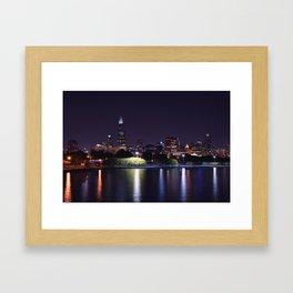 Chicago night skyline Framed Art Print
