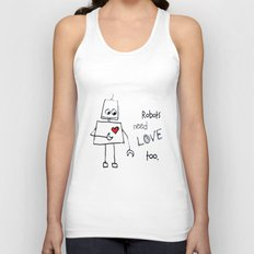 Robots Need Love Too Unisex Tank Top