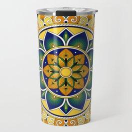 Italian Tile Pattern – Peacock motifs majolica from Deruta Travel Mug