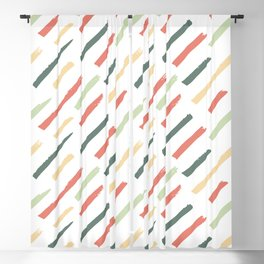 Abstract Ink Lines Pattern - Coral Green and White Blackout Curtain